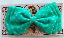 Vintage Hair Barrettes -1960's Large Fabric Mint Polka Dot Glamour Bow