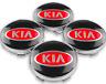 4 x 60mm Schwarz Rot Logo Alufelge Nabendeckel Nabenkappen für Kia NEU 2020