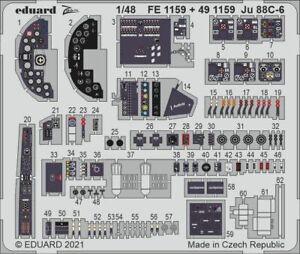 Eduard Pe 491159 1/48 Junkers Ju-88C-6 interior Details Set ICM