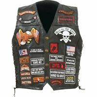Mens Black Genuine Leather Motorcycle VEST w/ 42 Patches US Flag Eagle Biker
