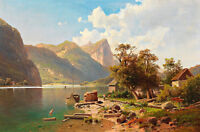 Scene of the Mondsee with View of the Drachenwand 75cm x 49.5cm Canvas Print