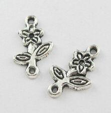 100Pcs Tibetan Silver Flower Connectors Pendant Charms Fit Bracelet 16x10mm Free
