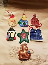 Lot of 7 Hand Crafted Christmas Ornaments Painted on 1 Side Only