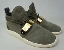 Giuseppe Zanotti Gold Bar Mid-Top Sneaker Grey Suede Men's Shoes Size 41 EU 8 US