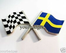 Enamel Chrome Swedish Flag & chequered flag crossing Car Badge Volvo Saab Sweden