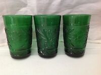 Vintage Anchor Hocking Sandwich Glass Forest Green 3 Flat Juice Glasses