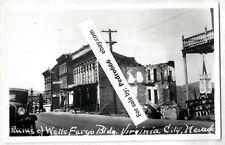 1940's era RPPC Ruins Of Wells Fargo Bldg Virginia City NV Real Photo Postcard