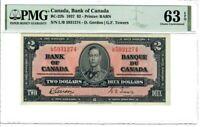 Canada $2 Dollar Banknote 1937 BC-22b PMG Choice UNC 63 EPQ