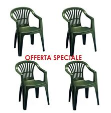 4 Pz Poltrona sedia  in dura resina di plastica verde impilabile con bracci