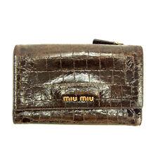 Auth Miu Miu tri fold Wallet Crocodile embossed ladies used J13088