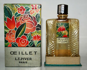 Lt Piver Antique Bottle Of Perfume Eyelet + Packaging Art Deco 1930