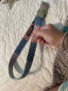 "Vineyard Vines Boys D Ring Belt Patchwork Cotton 32"" Large L Blue Green White"
