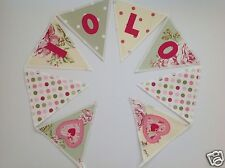 PERSONALISED BUNTING GREEN/CREAM VINTAGE FLORAL STYLE - £2.50/lettered flag