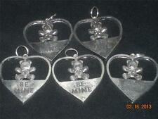 Wholesale Lot #423 Large Be Mine Teddy Bear Heart Pewter Charm Pendant Handmade