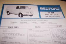 BEDFORD 1978  CF Van SWB Diesel  Spec Sheet GM NZ