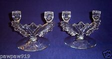 US GLASS CANDELABRUM CANDLESTICKS CLEAR CANDLEHOLDERS CRYSTAL PAIR VINTAGE '40s