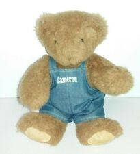 """Vermont Teddy Bear """"Cameron"""" Denim Overalls Jointed Plush"""