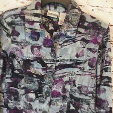 Chicos Womens Jacket Size 0 100% Linen Purple Gray Metallic threads 2 pockets *