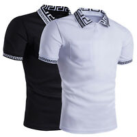 Men's Casual Stylish Slim Fit T-shirt Short Sleeve Polo Shirts Tee Tops.UK