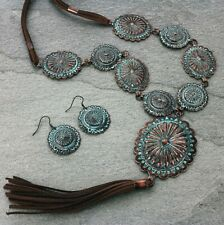 Copper Patina Concho Long Necklace Earrings Set Suede Tassel Western Cowgirl