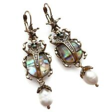 Abalone Art Deco Style Scarab Beetle Earrings Vintage Style Pearl Antique Gold