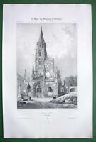 FRANCE St. Pere Church at Vezelai - SUPERB Antique Litho Print