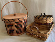 New ListingLot of 3 Amish-made Baskets Gorgeous Heirloom Quality Blue Red Tan Hand Woven