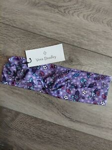 NWT Vera Bradley Knotted Headband Enchnated Garden Purple Stretch Flowers