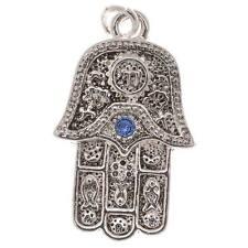 Silver Plated Charm Hamsa Hand W/Sapphire Crystals (1)