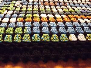 """CLEARANCE Handmade NEW Crochet Afghan Blue Green Rust Black White 60""""X60"""""""
