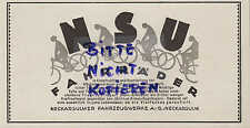 Neckarsulm, Werbung 1926, NSU Fahrzeugwerke AG Motor-Fahrräder Technik Naben