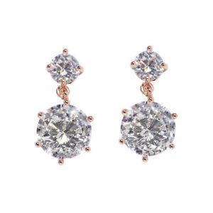 Rose Gold Sparkle Dangle Earrings