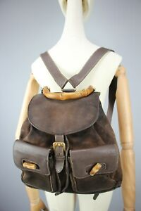 GUCCI GG Vintage 80s Bamboo Backpack Brown Suede & leather  Size Medium