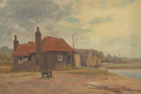 Early 20th Century Oil - Cottage by River