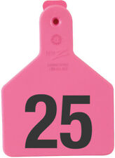 """Z-Tag Calf Tag Short Neck 2-3/8"""" W x 3-1/4"""" H Hot-Stamped #151-175 Pink 25ct"""
