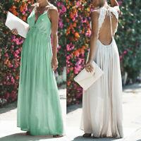 Women Summer Boho Maxi Dress Sleeveless Lace Backless Beach Dresses Sundress
