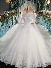 Cathedral Train Appliques Beaded Wedding Dress A Line White Ivory Bridal Gown