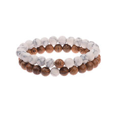 2 Pcs Couples Bracelet Set Sandalwood Beads His and Her Bracelets Jewellery Gift