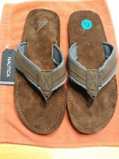 NEW NAUTICA Size 10 Men's Authentic Tayrona Brown Navy  Sandals Boys Flip Flops