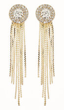 CLIP ON EARRINGS - gold earring with clear crystals and linked strands - Carol G