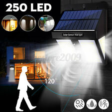 250 LED Solar Power Light PIR Wireless Motion Sensor Outdoor Garden Wall Lamp