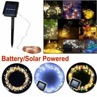 100/200 Solar/Battery Powered LED Fairy String Light Waterproof Xmas Party Light
