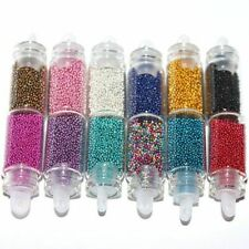 12 Mini Bottles Nail CAVIAR Beads Body Nail Art Festival Sparkling Manicure UK