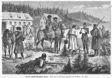 Zollkontrolle an  Grenze von Litauen und Russland, Original-Holzstich von 1878