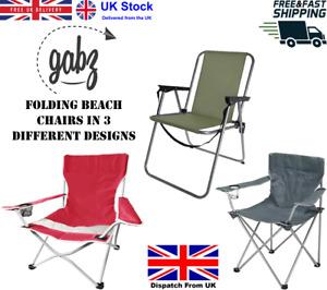 GABZ Outdoor Garden Camping Picnic Fishing Beach Chairs Folding Metal Armchair