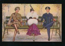 COMIC romance glamour Soldier Sailor artist Hal Ludlow Oilette #2981 c1910s? PPC