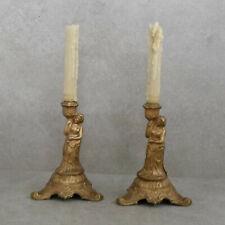 2 original Bronze-Figurenleuchter aus der Gründzeit, Kerzenleuchter, Stabkerzen