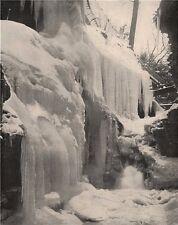 Rainbow Falls in winter, Watkins Glen, New York 1895 old antique print picture