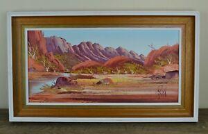 Henk Guth Central Australian Scene Landscape Oil on Board Painting