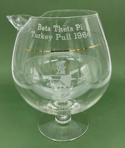 Beta Theta Pi Sharing Goblet sniffer etched Glass 1964 Turkey Pull